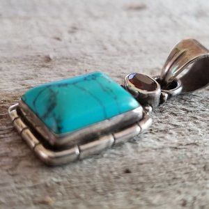 Jewelry - Turquoise, garnet and Sterling silver pendant